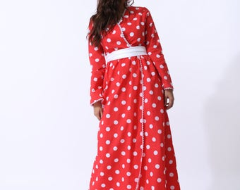 Monroe Long Red Polka Dot Dress With Long Sleeves Lace Trim