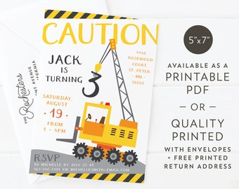 "Caution Construction Crane | Birthday Party or Baby Shower Invitation | Custom Design | Printable PDF or Quality Printed | A7 5""x7"""