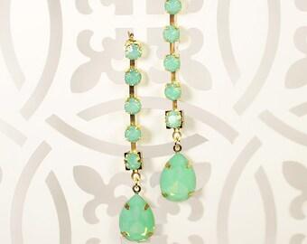 Nadine Crystal Earrings, Bridesmaid Earrings, Bridal Earrings, Wedding Earrings, Bridal Party Jewelry Gift, Opal Earrings, Evening Jewelry