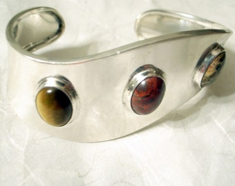 Vintage Sterling Taxco Cuff Bracelet SALE In Sterling Silver With Agate, Jasper And Tiger Eye - Mexico Mid-Century Modernist Wave Design
