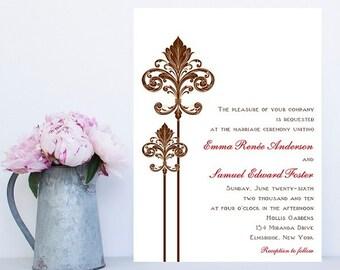 Fleur de lis Wedding Invitation - New Orleans Wedding Invitation - Fleur Wedding Invitation