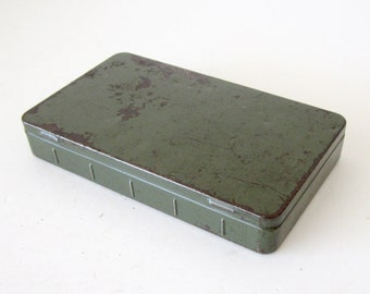 Small Vintage Olive Green Metal Box
