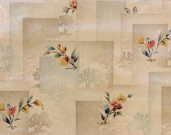 1920s Antique Vintage Wallpaper Glossy Flower Scenic Tiles by the Yard