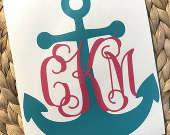 Monogrammed Anchor Vinyl Decal/Yeti Decal/Car Decal
