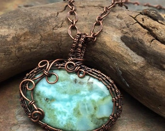 Huge Genuine Larimar Blue Gemstone Pendant Neckace,Ready to Ship, Marta Weaver Jewelry