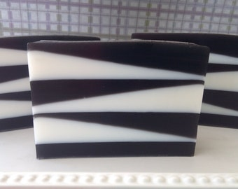 Drakkar type Zebra Soap - glycerin soap - black and white soap - soap for men