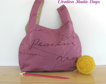 Knitting bag, Large knitting project bag, Knitting accessories, Tote bag, Warm Plum ladies handbag