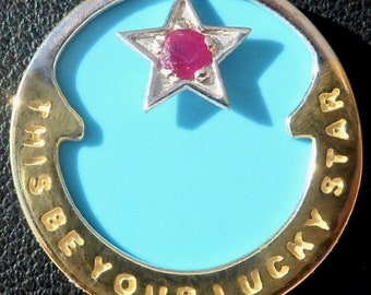 Mother of Turquoise ' Lucky Star ' Charm / Luck pendant, Signed RIPP, 18k Gold