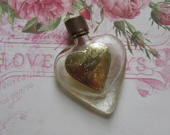 """Vintage Evyan """"Great Lady"""" Heart Shape Textural Glass Perfume Bottle with Original Foil Label and Plastic Screw Top, Collectible Bottle"""