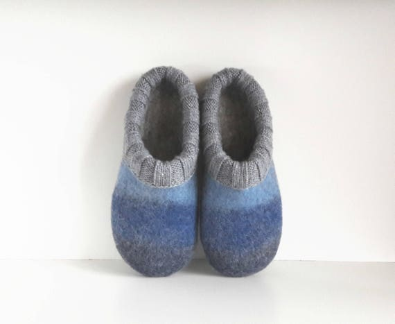slippers adult slippers felt blue grey wool house wool felted Felted wool order slippers Handmade shoes to slippers men slippers 5xqz1xwF