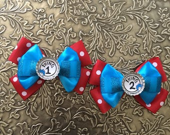 Thing 1 and Thing 2 Inspired Bows