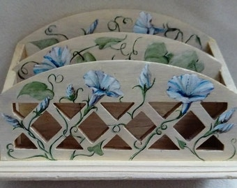 Wooden Letter Holder with Hand Painted Morning Glories