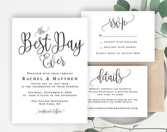 Best day ever invitation DIY wedding invitation kit Rustic wedding invitation Boho invitation template Editable template download #vm41
