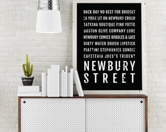Amazing Newbury Street Print, Boston Subway Sign Poster, Boston Wall Art, Décor,  Canvas