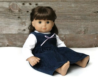 Navy Blue Doll Jumper & White Knit Shirt 2 Piece Outfit Winter Corduroy 14 to 16 inch Baby Doll -- US Shipping Included