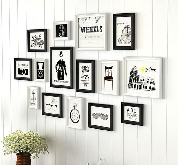 15 pieces one set of different size solid wood picture photo frame ...