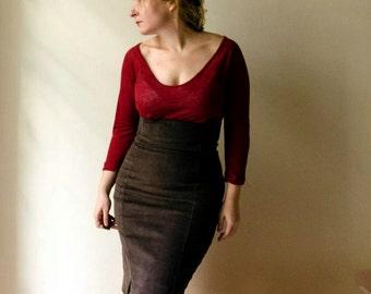 Brown Corduroy Pencil Skirt High Waist, Chocolate Brown Retro Knee Skirt