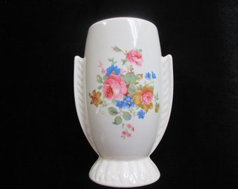 Vintage Vase Pottery Floral Flower Hand Painted or Decaled Art Deco Style Table Decor
