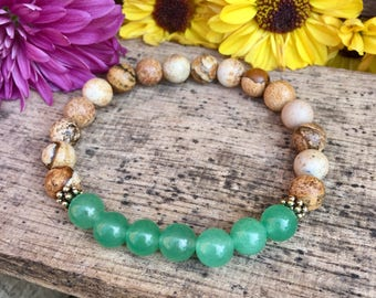 Green Aventurine + Picture Jasper || Women's Yoga  Bracelet || Stackable Beaded Bracelet ||