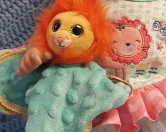 "15 inch baby doll or any size lovey blankie blanket ""Little Lion Lovey"" security blanket toy H4"