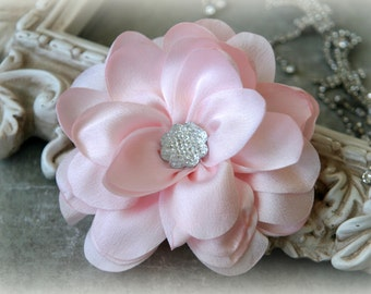 1A  Light Pink Satin Flowers with Decorative Center, for Headbands, Clothing, Sashes, Crafting, 4 inches across, FL-329