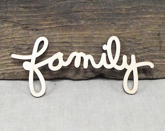 "Awesome ""Family"" Wooden Laser Cut Word For Wood Crafts, Signs, Scrapbooking Etc. - 2 1/2"" x 6"""