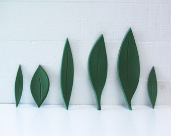 Six Leaves.   Fired Ceramic Leaves.  Hand-Built Foliage.   In Green.