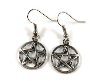 Silver Pentagram Earrings, Wiccan Jewelry, Pentacle Earrings, Pagan Jewelry, 5 Pointed Star Earrings, Pentagram Jewelry, Charm Earrings