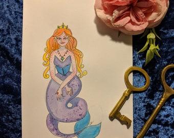 Mermay Watercolor Sketch Royal