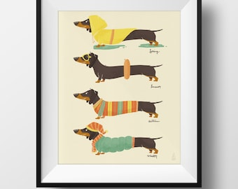 Fine Art Dog Print - Seasonal Dachshund Illustration • Cute Doxie Nursery Print • Kids Room • Spring, Summer, Autumn, Winter