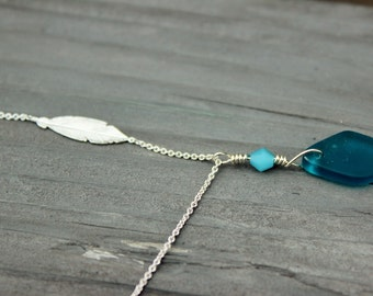 """Teal Sea Glass with Sterling Feather on a 18"""" chain"""