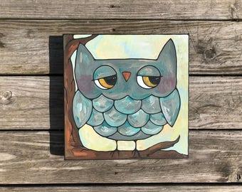 Gray Owl acrylic on canvas painting