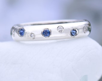 Blue Sapphire and Diamond Ring, Ethical Sterling Silver, Handmade to Size