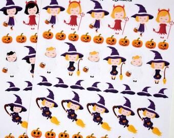 Halloween Girl Stickers! ECLP, Erin Condren Planner, Happy Planner,School Planner,Teacher Planner, Planner Stickers, Costume Stickers,Charts