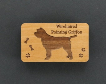 Original Design Wirehaired Pointing Griffon Wood Magnet