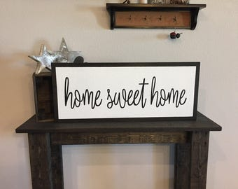 """READY TO SHIP Framed Style Home Sweet Home Sign - 11""""x27"""" - Home Entry Welcome Love Rustic Decor Farmhouse Style Fixer Upper (Item - LHS100)"""