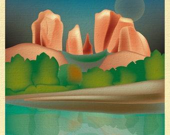 Sedona Skyline Print, Sedona Arizona art, Southwest art Print, Sedona Art, Sedona Art, Sedona Print, Cathedral Rock art, style E8-O-SED