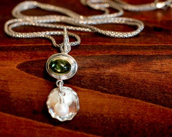 Gemstone Necklace Green Peridot Necklace Sterling Silver Jewelry Gift For Woman Gift For Her August Birthstone Gift Under 75 Pearl Necklace