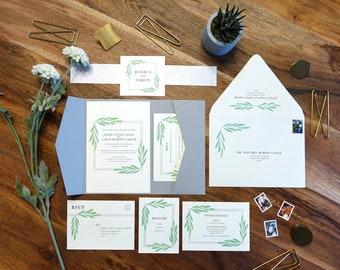 Greenery Wedding Invitation Suite, Green Leaves, Pocketfold Invitation Set, Printable Watercolor, Gray, Olive 2018 Botanic Printable Invites