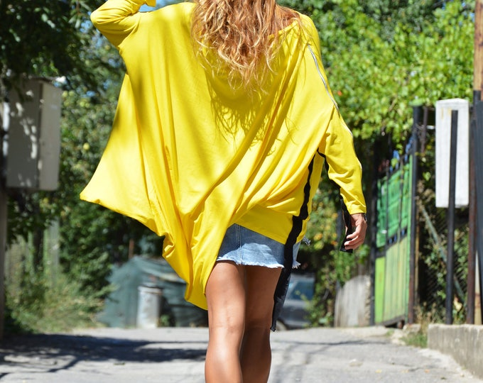 Summer One Size Blouse, Oversize Loose Top, Asymmetric Maxi Tunic, Casual Long Sleeves Tunic, Exravagant Tunic by SSDfashion