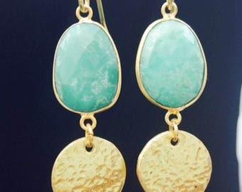 Statement Earrings Dangle Long Earrings hammered discs gemstones