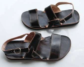 "SALE Leather Sandals Dark Summer Greek Style Sandals COISAS  ""Handsome"" CSLM014"