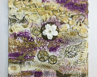 Mixed media textured shabby chic abstract painting
