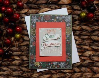 Christmas Greeting Card / Christmas Card / Handmade Greeting Card / Stamped Greeting Card / Holiday Greeting Card