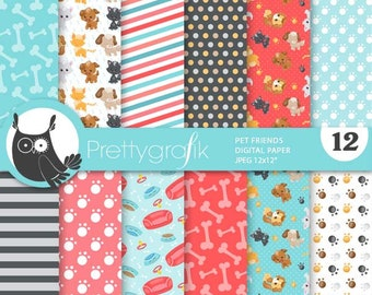 80% OFF SALE Pet friends digital papers, commercial use, flamingo scrapbook papers, flamingo papers, background - PS912