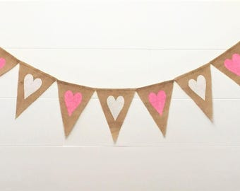 Valentine's Day Banner,Heart Banner,Heart Burlap Banner,Valentine's Day Decor, Valentine Garland/Bunting,Farmhouse/Rustic Valentine's Banner