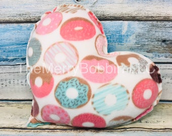 Donuts Throw Pillow, Large Donuts Pillow, Nursery Pillow, College Girl Gift, Heart Pillow, Aqua Pillow, Donuts Heart Pillow, Personalized