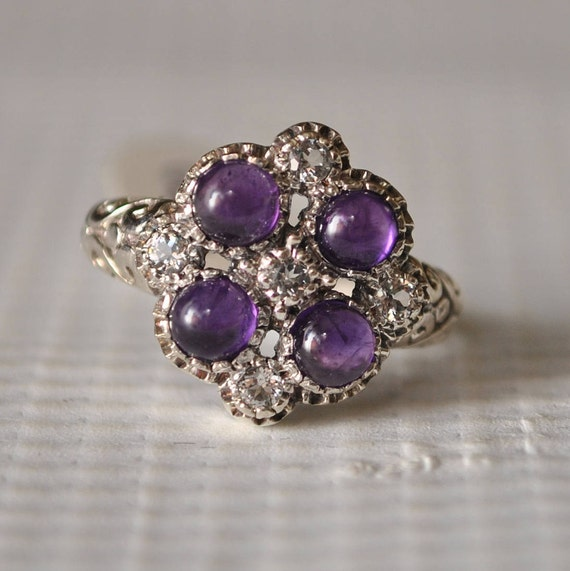 Sterling Silver Amethyst Ring Sz 6  #9852