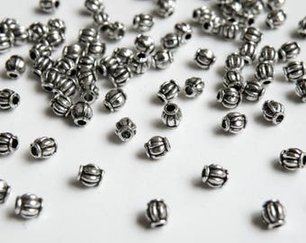 50 Lantern or melon shaped spacer beads antique silver 4mm PO004-03