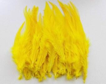 lot de 10 plumes jaune 10-15cm